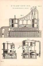 1868 PRINT ~ STEAM ENGINE ~ ERICCSON'S CALORIC ENGINE