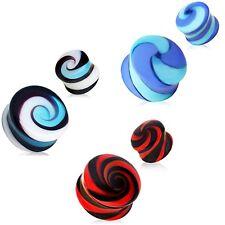PAIR - UNIQUE HANDMADE PYREX GLASS SWIRL PLUGS DOUBLE FLARED EAR GAUGES (9 sz)