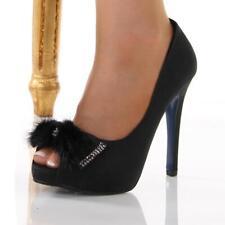 Elegante peep-toes tacón alto zapatos de salón con detalle de lazo negro #5745