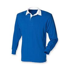 Plain ROYAL MID BLUE Cotton Classic Original Long Sleeve Rugby Shirt No Logo