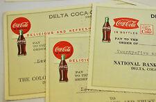Coca-Cola Cheques de pago Cheque Cuadros EE.UU. 1960er Coke Delta Bottling Co