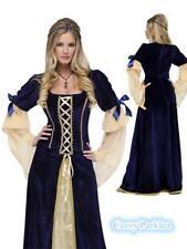 Women Blue Long Gown Game Thrones Renaissance Medieval Queen Fancy Dress Costume