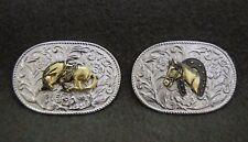 Western Cowboy Cavallo Fibbia della Cintura Fibbia in metallo ovale dettagliate disegno floreale 3D