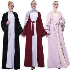 Kimono Abaya Open Front Cardigan Flare Sleeve Muslim Women Maxi Jilbab Islamic