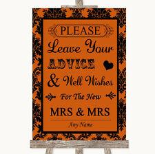 Wedding Sign Poster Print Burnt Orange Damask Guestbook Advice & Wishes Lesbian