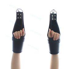 Leather hanging Lockable Mittens Locking Hand Wrist Cuffs Fetish Gloves Costume
