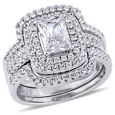 Sterling Silver Cubic Zirconia Halo Bridal Wedding Ring Set