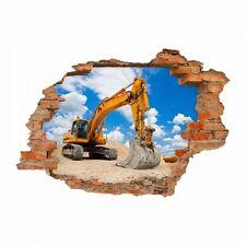 nikima 049 Wandtattoo Bagger Baustelle - Loch in der Wand - Kinderzimmer Junge