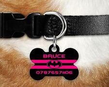 Custom PERSONALIZZATA per Cane Tag ID Nome PER COLLARE Pet Tags-BATMAN rosa a righe