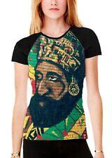 Haile Selassie Rasta Wall Art Women's All Over Graphic Contrast Baseball T Shirt