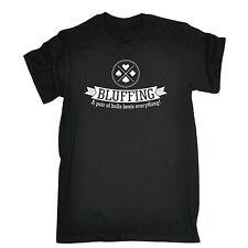 Bluffando batte TUTTO T-shirt Carte da gioco POKER BLUFF Regalo Di Compleanno Divertente