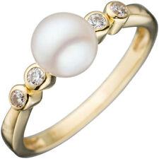 Damen Ring 333 Gold Gelbgold 1 Süßwasser-Perle 4 Zirkonia Goldring Perlenring