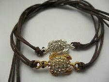 KARMASTRING brown string tie on bracelet with rhinestone turtle karma % charity
