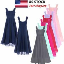 5696351de US Girls Kids Long Dress Lace Chiffon Princess Flower Party Wedding  Bridesmaid