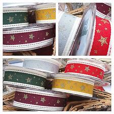 1m, 25mm NATURAL RUSTIC,GOLD STARS CHRISTMAS RIBBON,RED,GREEN,GREY,CLARET,YELLOW