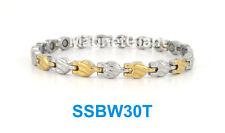 Women magnetic stainless steel link bracelet for health & beauty (Gold & Silver)