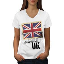UK Flag Tourist Holiday Women V-Neck T-shirt NEW | Wellcoda