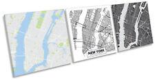 New York City Map Set of 3 CANVAS WALL ART Print Treble Multi-Coloured