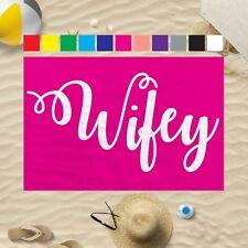 "58x39"" Any Colour Wifey Design Microfibre Beach Towel Wedding Gift"