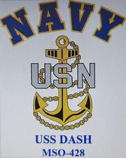 USS DASH  MSO-428* MINESWEEPER * U.S NAVY W/ ANCHOR* SHIRT