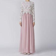 Women Fashion Muslim Lace Chiffon Crochet Maxi Long Dress Party Evening Wedding