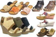 Lightweight Strappy Flower Platform Wedge High Heel Slip On Thong Sandals Summer