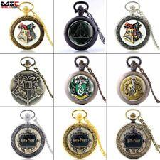 Vintage Harry Potter Antique Pocket Watch Chain Necklace Quartz Pendant Gift Hot