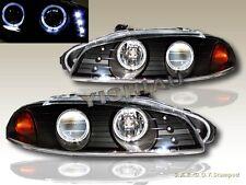 1997 1998 1999 Mitsubishi Eclipse Projector Headlights Black Two Halo LED