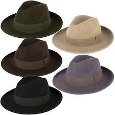 Elegante 100% Lana Fedora Cappello Impermeabile & comprimibile fatto a mano in Italia