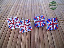 Orecchini Earrings Bottone Union Jack Love London England Bandiera Glamour
