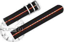 Uhrenarmband Wasserfest CUT Militär  Strong schwarz-orange Streif 22mm,24mm 26mm