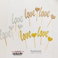 PAPER CUPCAKE TOPPER PICKS LOVE & HEARTS WEDDING ENGAGEMENT GOLD SILVER KRAFT
