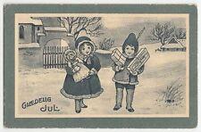 1910-20s Denmark Vintage New Year Greetings Postcard Stamp Cancel Girl Boy Doll