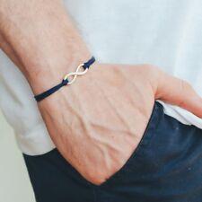 Adjustable silver infinity bracelet for men, blue cord, yoga jewelry
