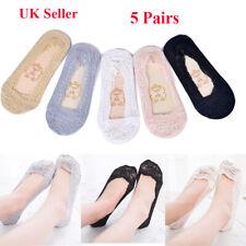 Anti-slip Women Ladies Footsies Skin Shoe Liners Invisible Thin Lace Socks Sheer