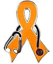 Orange Awareness Pin Ribbon Stethoscope Melanoma Self Injury Many Cancer Causes
