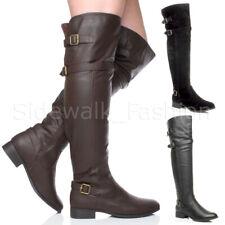 Womens ladies low heel flat winter zip over the knee biker riding boots size