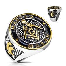 Anillo de hombre Sello anillo Statementring Masonería en oro plata negro redonda
