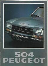 PEUGEOT 504 TI, 504 GL AND 504 L SALOONS 1978 SALES BROCHURE