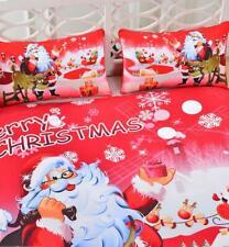 3Pcs Christmas Kid's Gift Duvet Cover Bedding Set Bed Pillowcase Xmas Home Decor