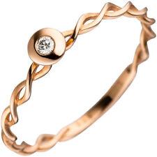 Solitario Anillo de mujer con diamante brillante, Oro 585 rojo enroscado Dedos