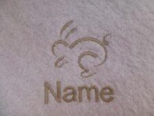 Conejo running y el nombre bordado en Toallas baño Batas de Capucha NOVEDAD