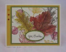 Handmade Thanksgiving Card Oak & Maple Leaves Blank Inside U Choose How Many