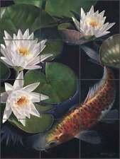 Ceramic Tile Mural Backsplash Macon Koi Fish Water Lily Asian Art LMA034