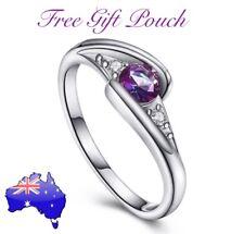 Purple Rainbow Topaz Crystal 925 Sterling Silver Ring Women's Jewellery Gift New