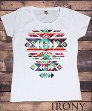 Brand New -Women White T-Shirt With Aztec/Pattern Print-Women/Fashion Print TSA1