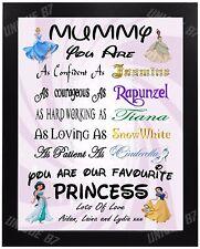 Personalised DISNEY PRINCESS Birthday Gift MUMMY mum NANNY sister AUNTIE xmas A4
