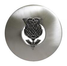 Traditional Scottish Chrome Matte Antique Thistle Kilt Plaid Sash Brooch Pin