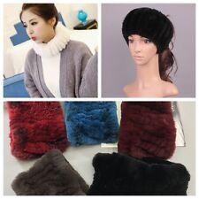 2 In 1 Scarf Headband Cowl Neck Wrap Warmer Real Rabbit Fur Elastic Winter Soft