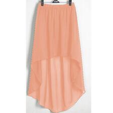 Coral Chiffon Women Lady Asym Skirts Waist Maxi High Low Hem Asymmetric Dress